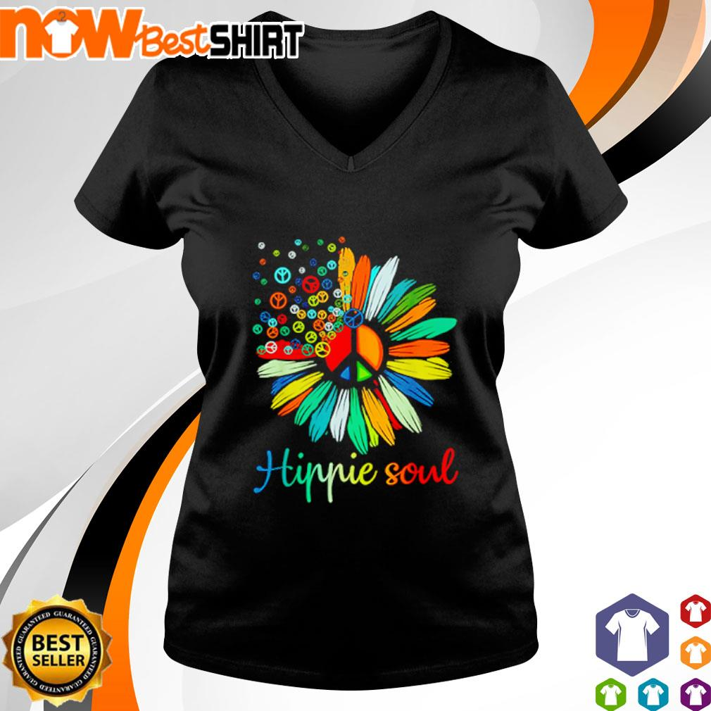 Flower Daisy peace color hippie soul s v-neck-t-shirt