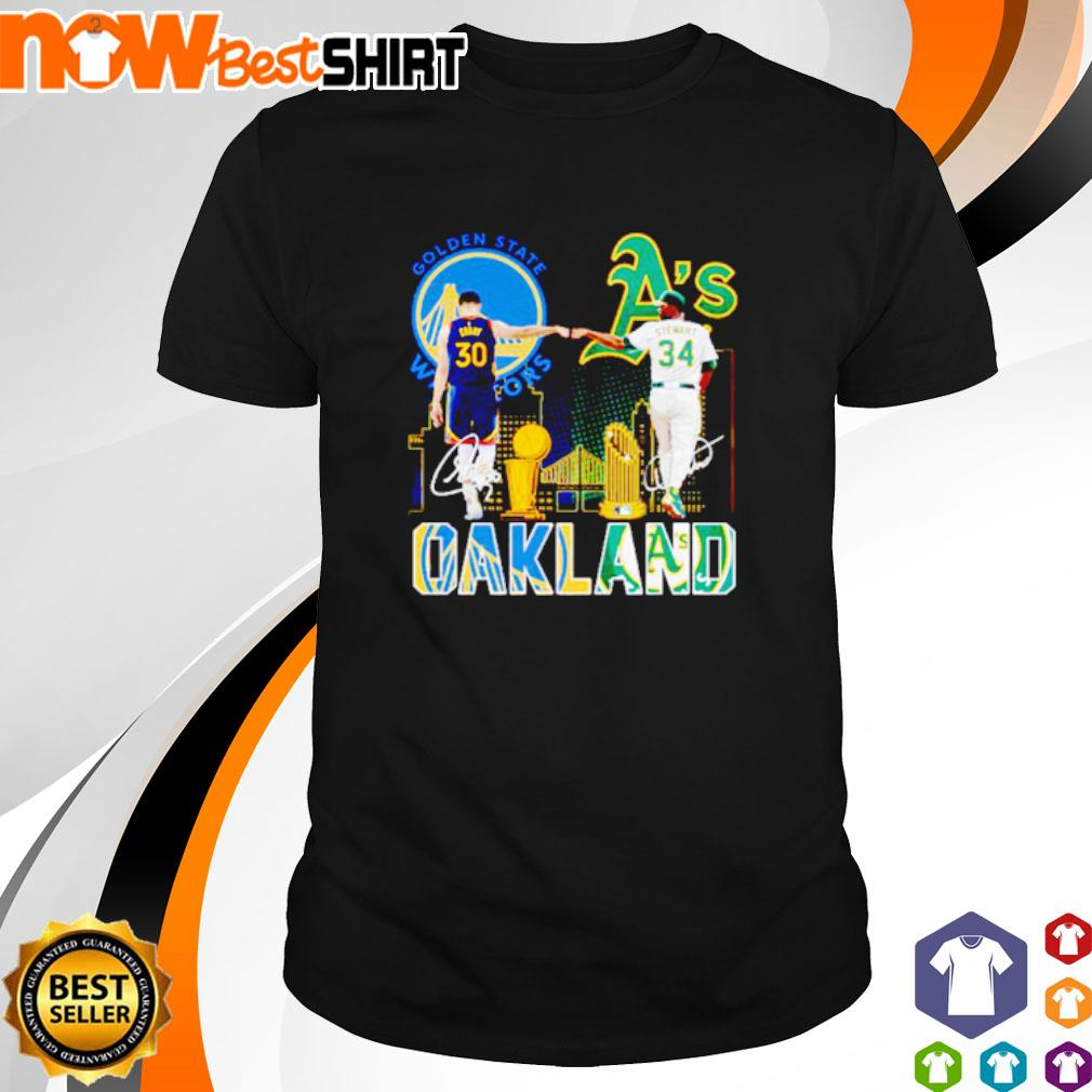Golden State Warriors Stephen Curry and Oakland Athletics Dave Stewart Oakland shirt