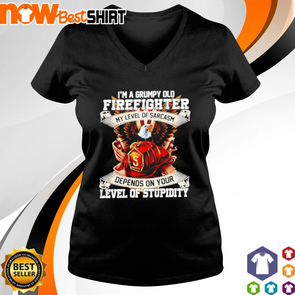 I'm a grumpy old firefighter my level of sarcasm depends on your level of stupidity s v-neck-t-shirt