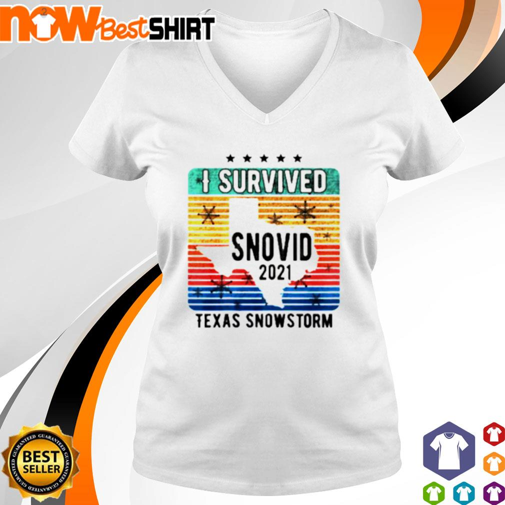 I survived snovid 2021 Texas snowstorm vintage s v-neck-t-shirt