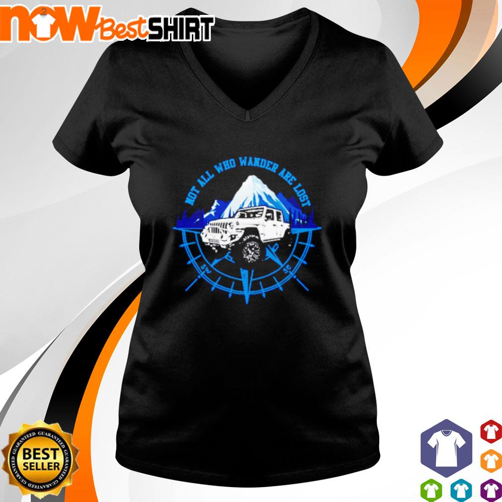 Jeep not all who wander are lost s v-neck-t-shirt