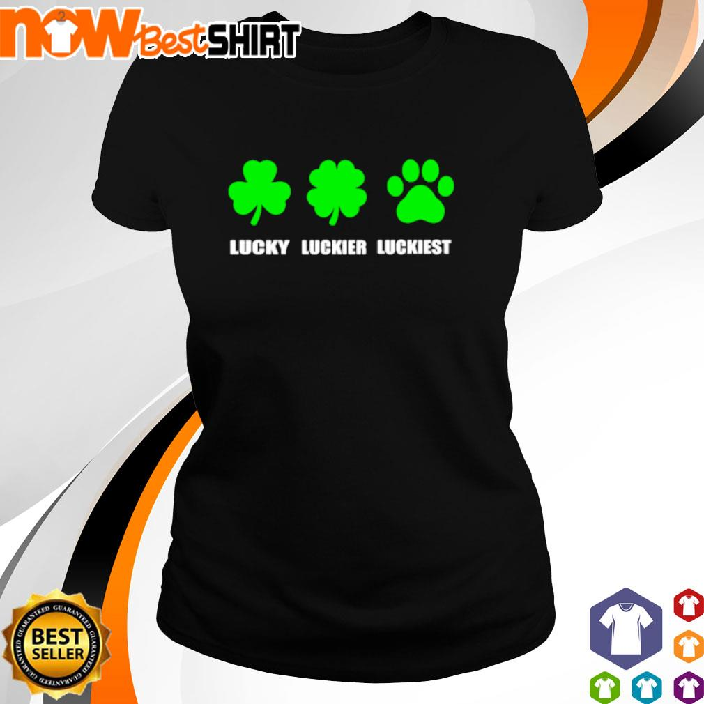 Lucky luckier luckiest dog paw St. Patrick's Day s ladies-tee