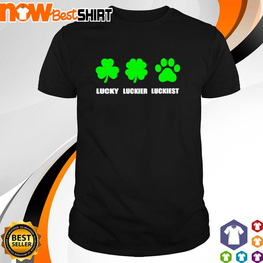 Lucky luckier luckiest dog paw St. Patrick's Day shirt