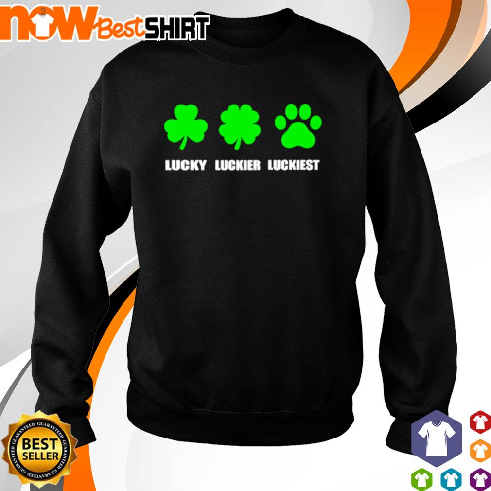 Lucky luckier luckiest dog paw St. Patrick's Day s sweater