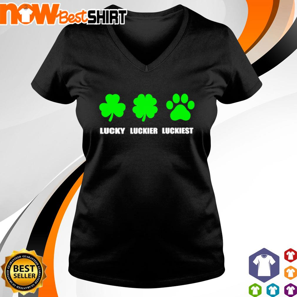 Lucky luckier luckiest dog paw St. Patrick's Day s v-neck-t-shirt