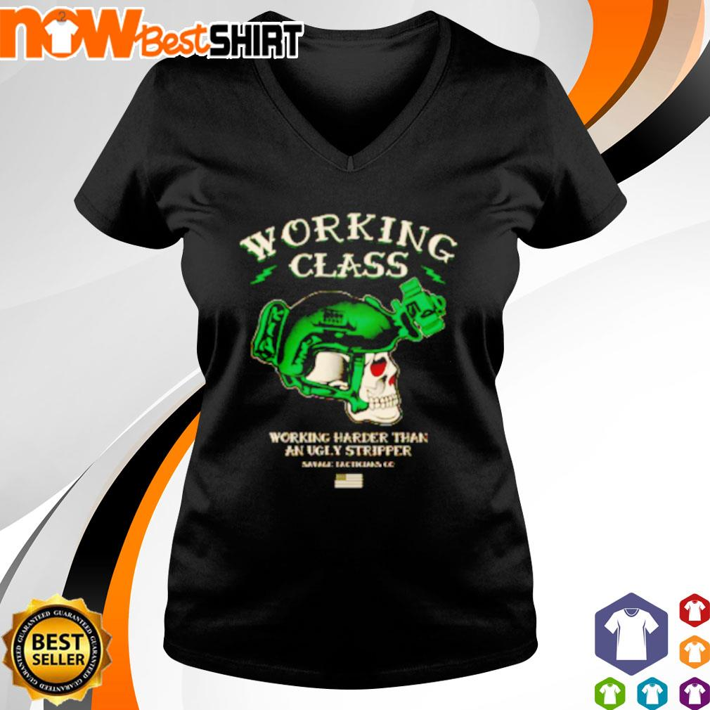 Skull working class working harder than an ugly stripper s v-neck-t-shirt