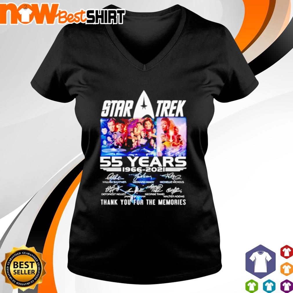 Star Trek 55 years 1966 - 2021 thank you for the memories signatures s v-neck-t-shirt
