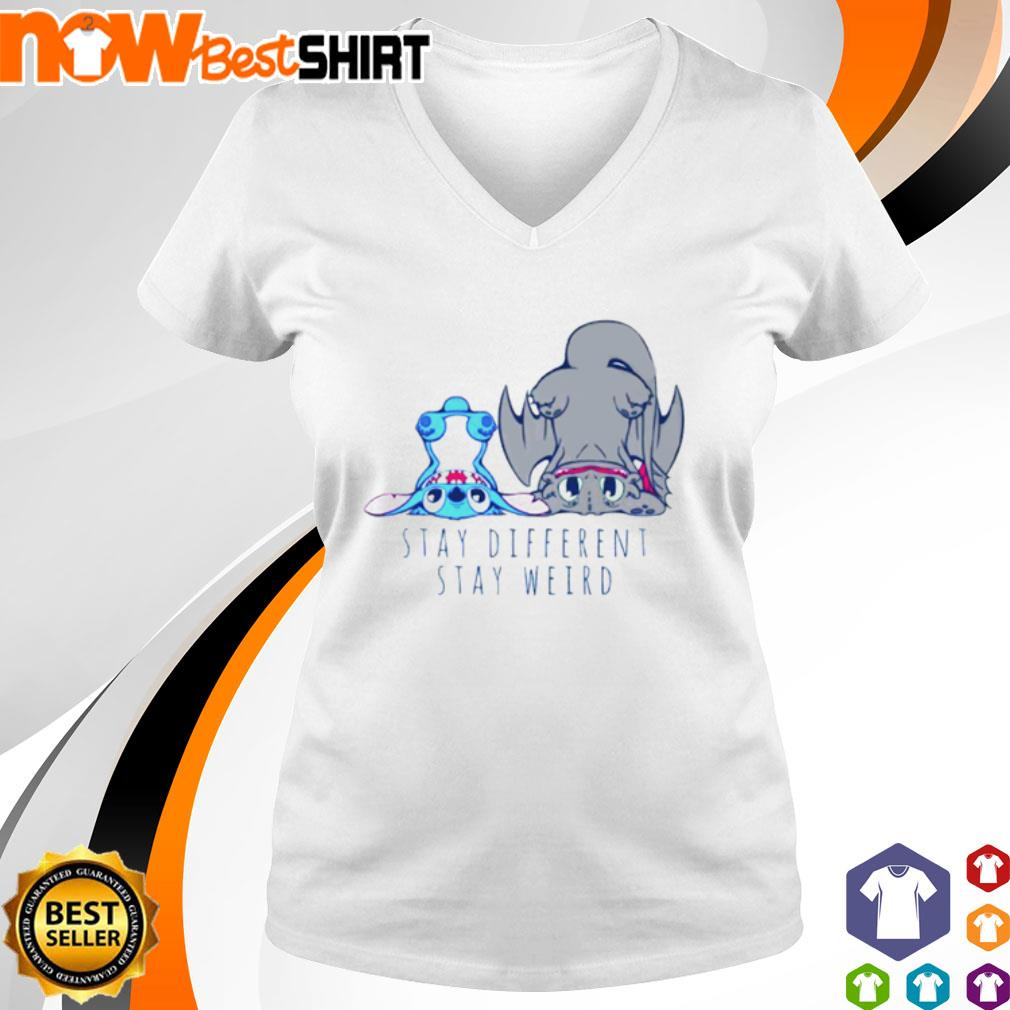 Stitch Toothless stay different stay weird s v-neck-t-shirt