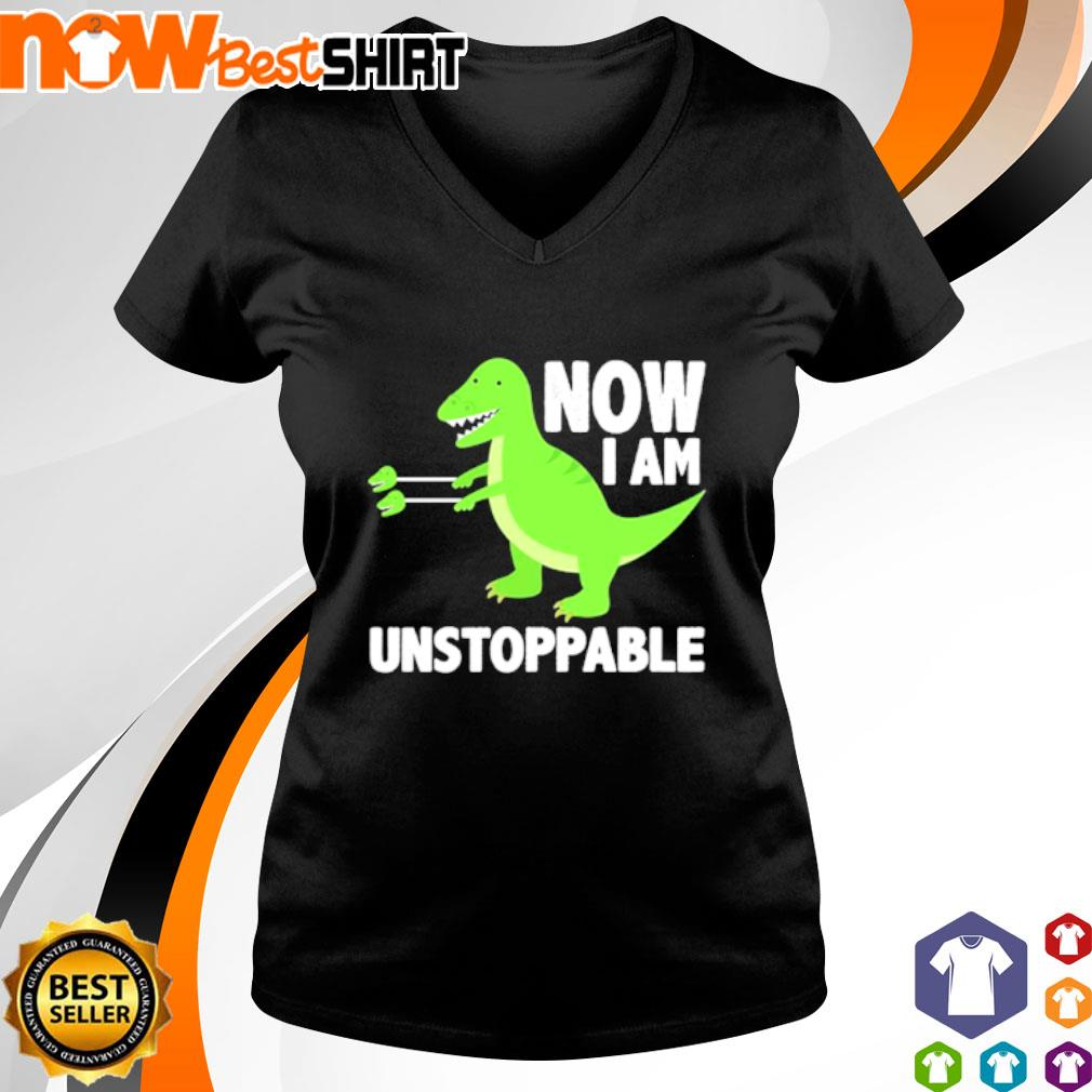 T-Rex now I am unstoppable s v-neck-t-shirt