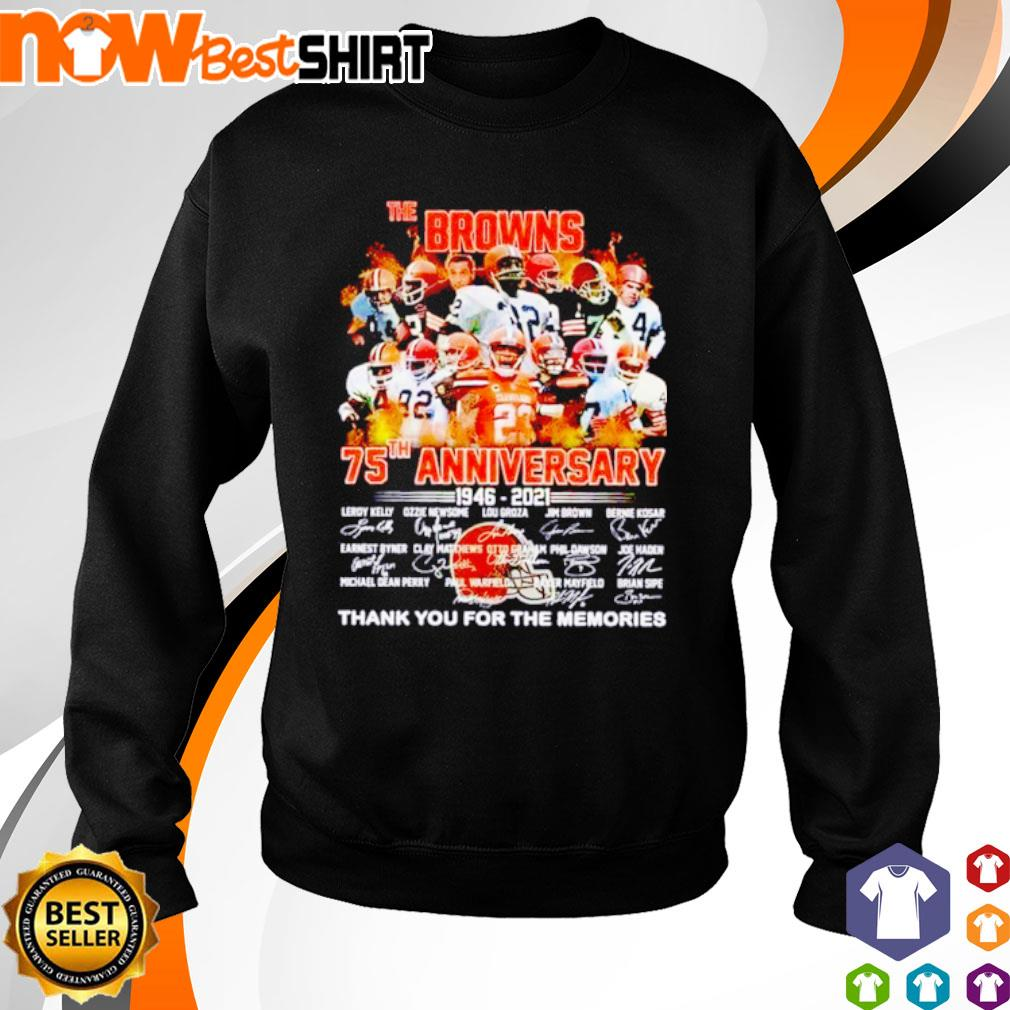 The Browns 75th anniversary 1946 - 2021 thank you for the memories signatures s sweater