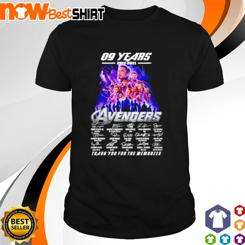 09 Years 2012 - 2021 Avengers thank you for the memories signatures shirt