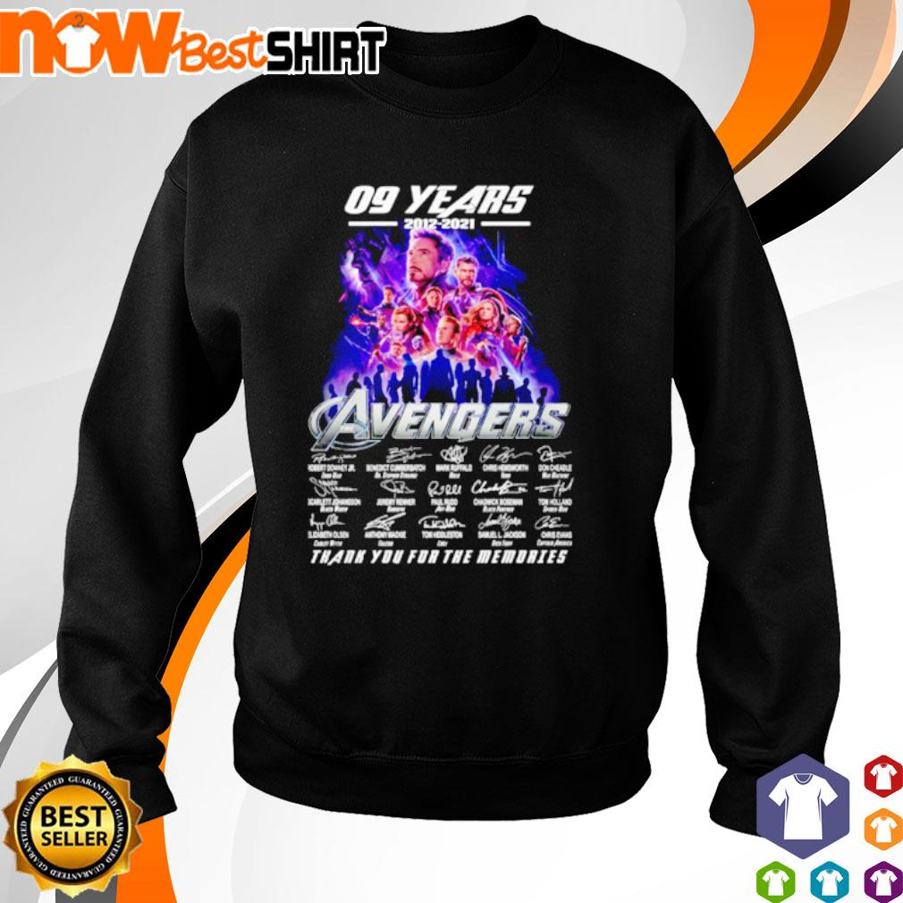 09 Years 2012 - 2021 Avengers thank you for the memories signatures s sweater
