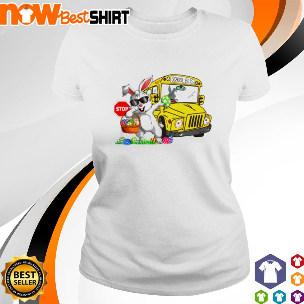 Happy Easter Rabbit dadding stop school bus shirt