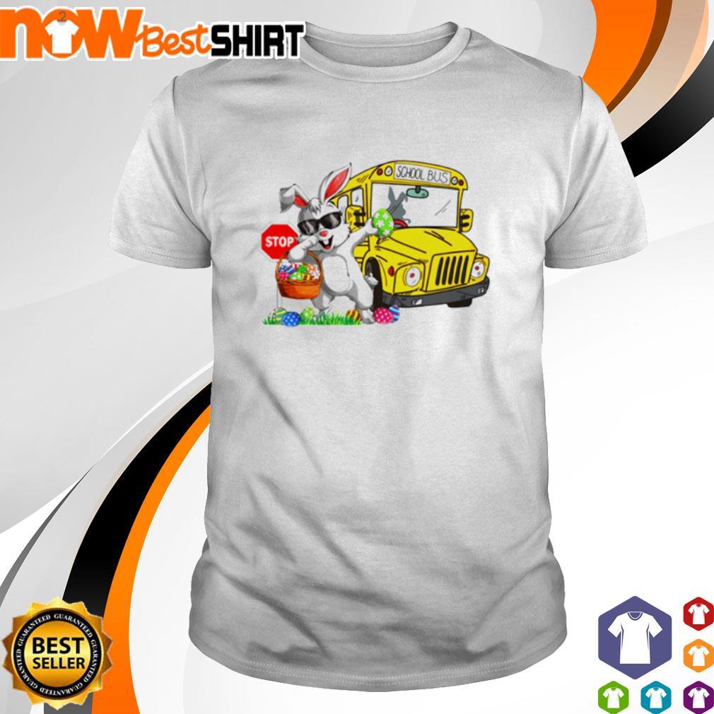 Happy Easter Rabbit dadding stop school bus s shirt
