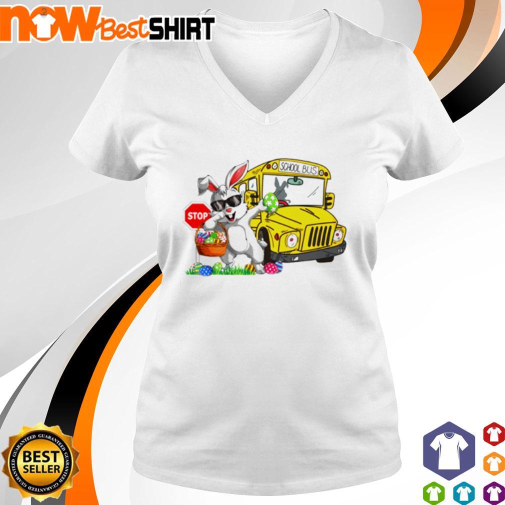 Happy Easter Rabbit dadding stop school bus s v-neck-t-shirt