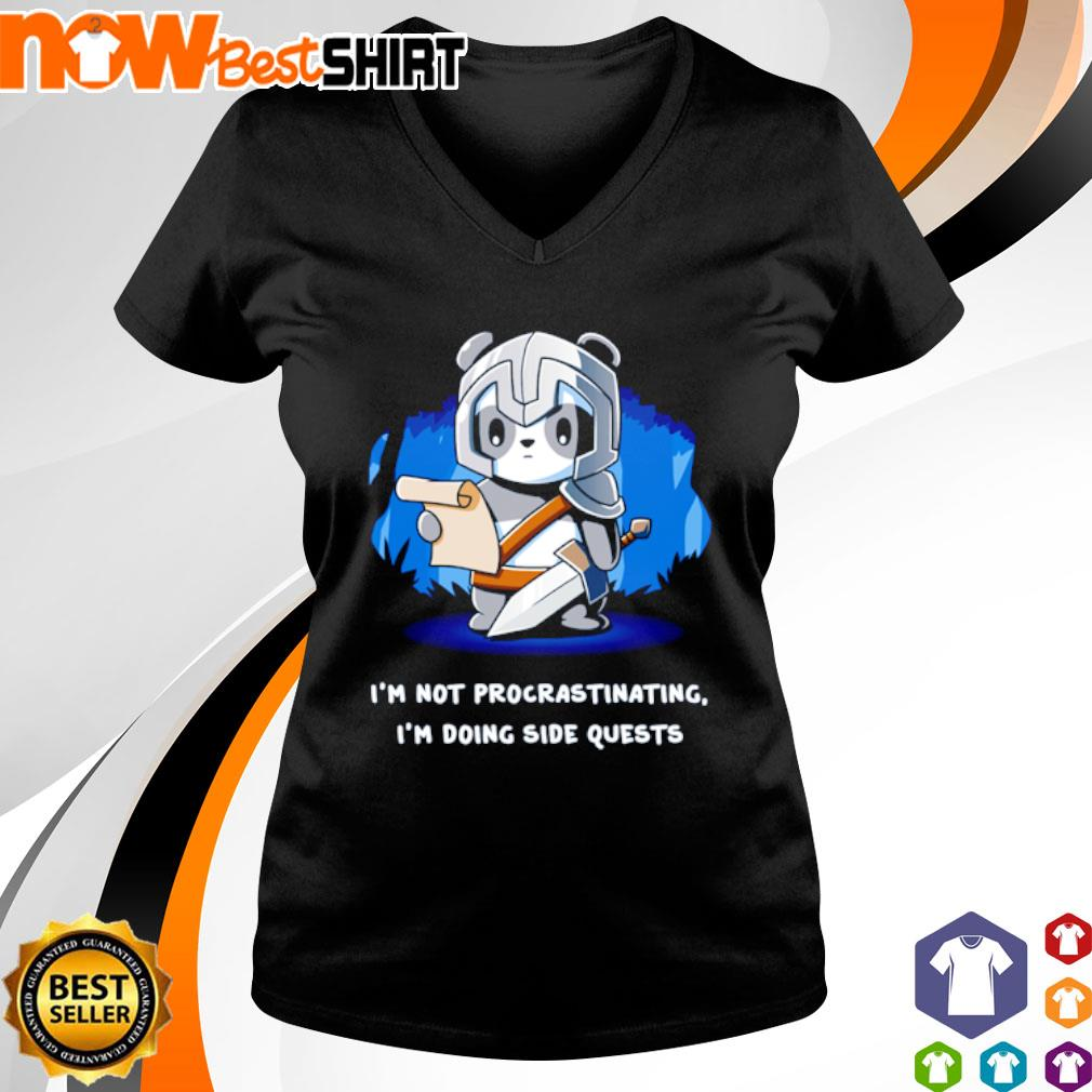Panda I'm not procrastinating I'm doing side quests s v-neck-t-shirt