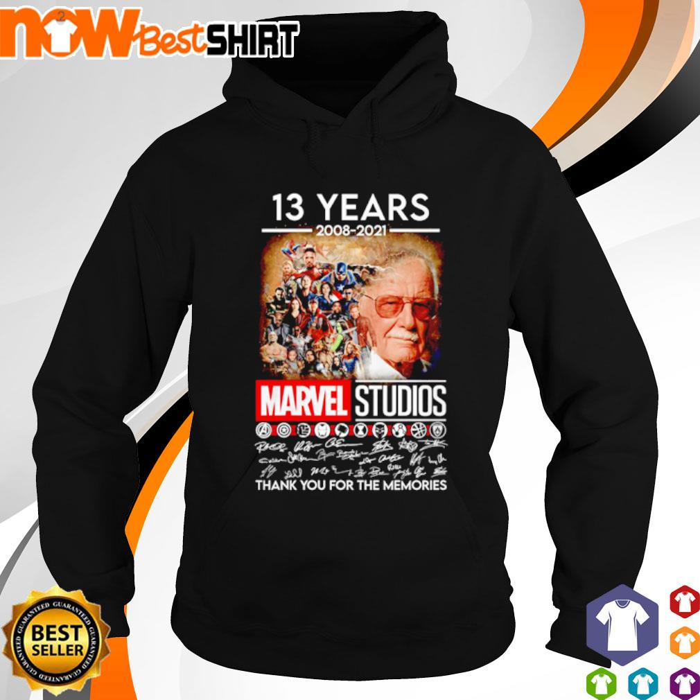 13 Years 2008 - 2021 Marvel Studios thank you for the memories signatures s hoodie