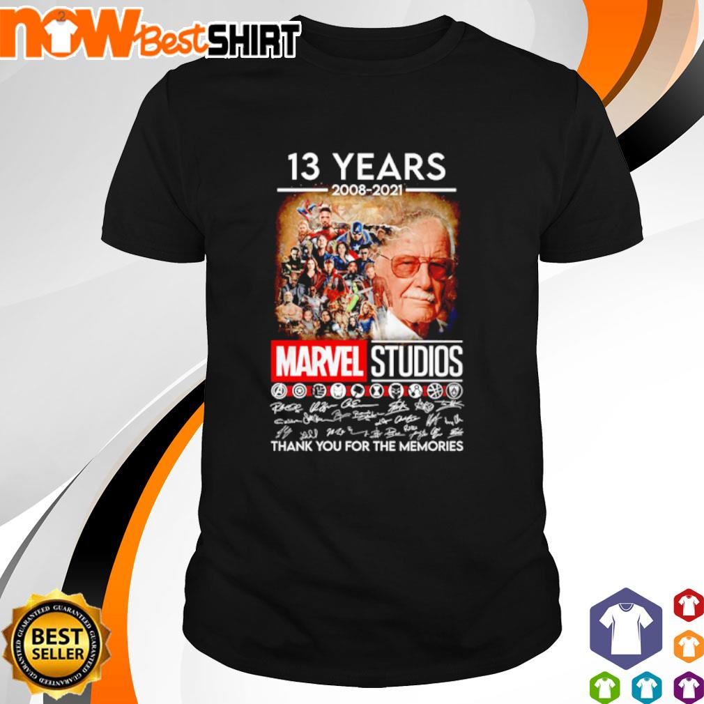13 Years 2008 - 2021 Marvel Studios thank you for the memories signatures shirt