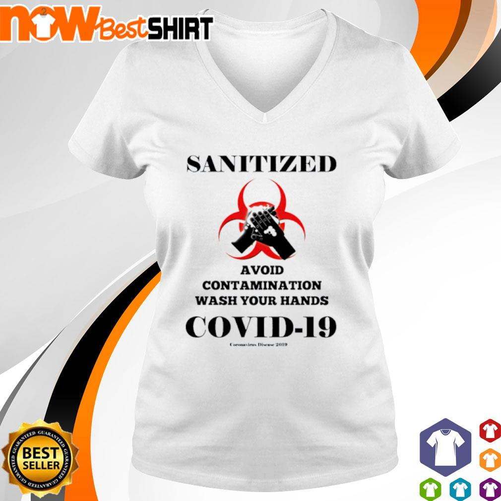 Sanitized avoid contamination wash your hands covid 19 v-neck-t-shirt