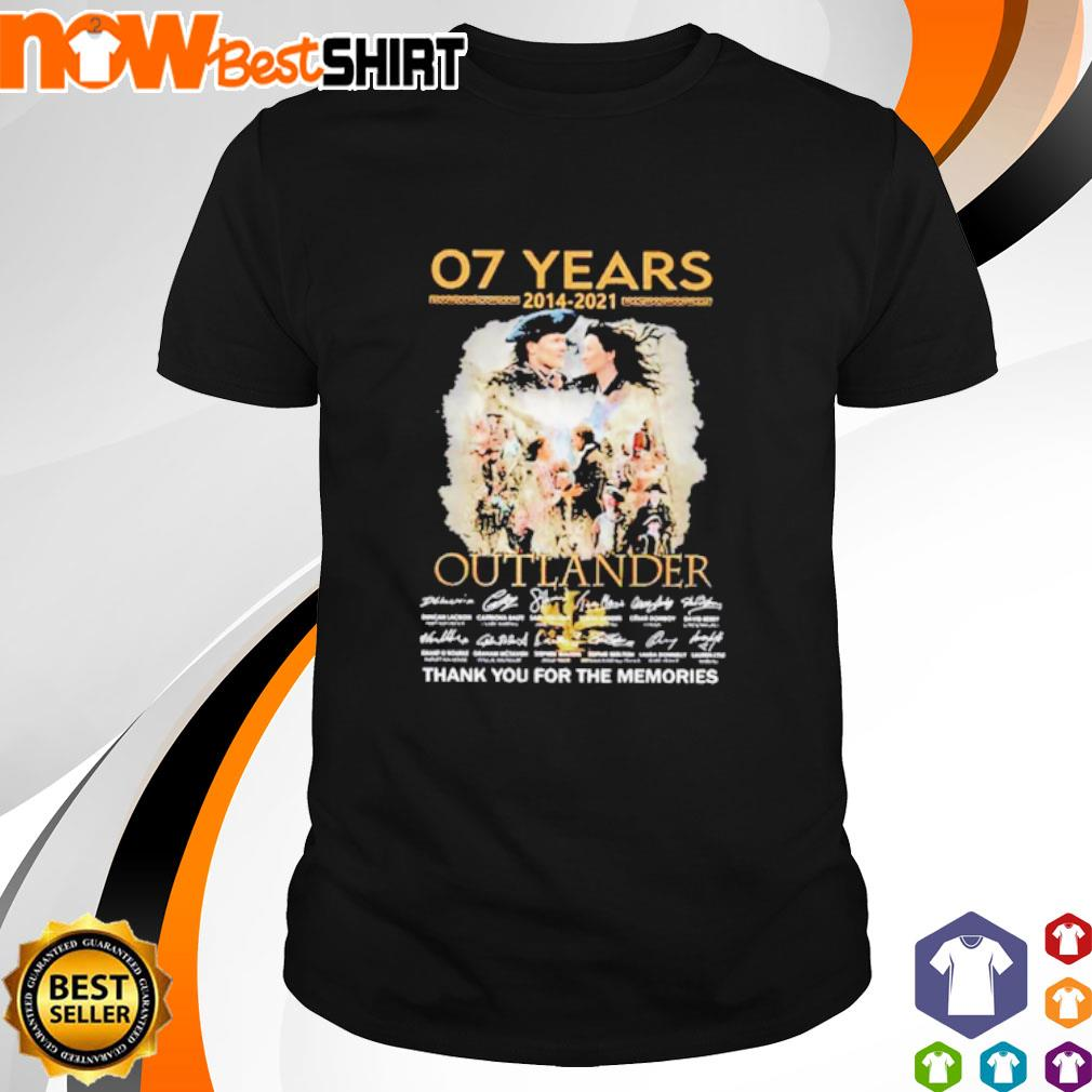 07 Years 2014 - 2021 Outlander thank you for the memories signatures shirt